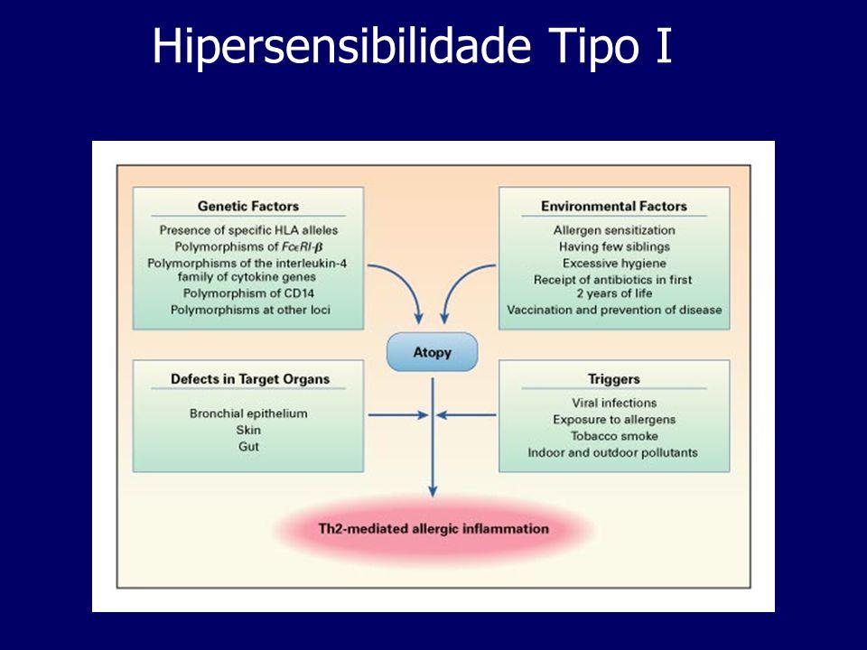 Hipersensibilidade Tipo IV DTH- hipersensibilidade retardada O contacto da pele com determinadas moléculas pode também resultar em DTH- hipersensibilidade retardada.