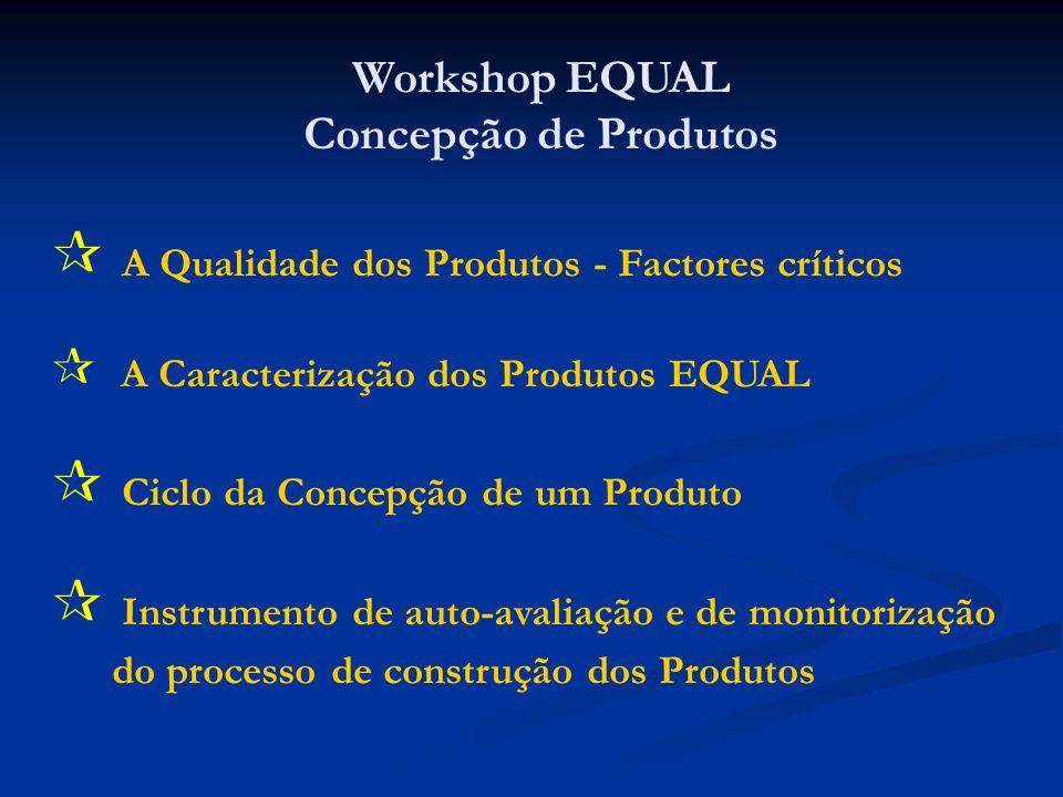 Checklist de critérios de análise da qualidade das dimensões dos produtos EQUAL Metodologia de Validação de Produtos EQUAL Instrumento de auto-avaliação e de monitorização do processo de construção dos Produtos