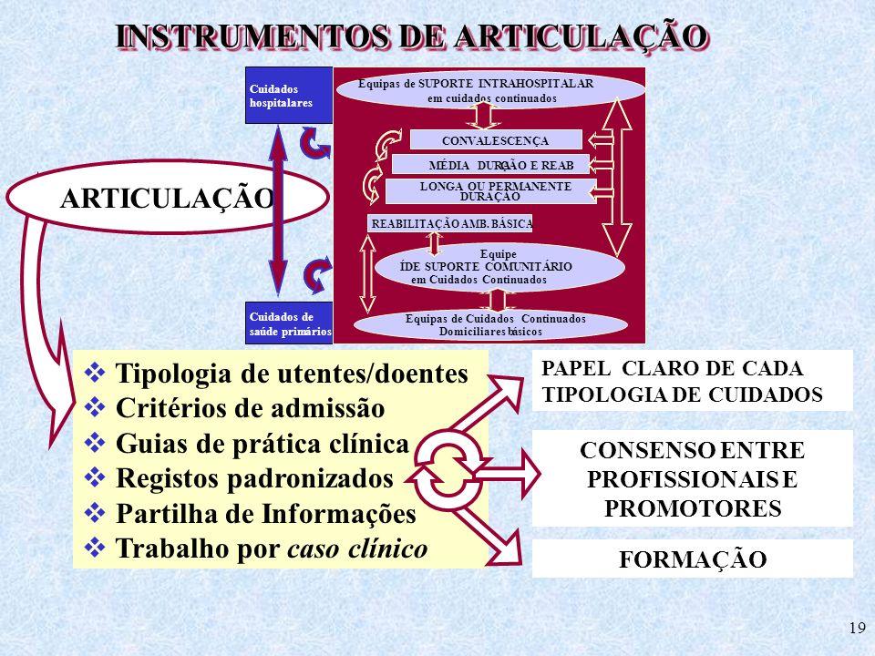 19 INSTRUMENTOS DE ARTICULAÇÃO Tipologia de utentes/doentes Critérios de admissão Guias de prática clínica Registos padronizados Partilha de Informaçõ