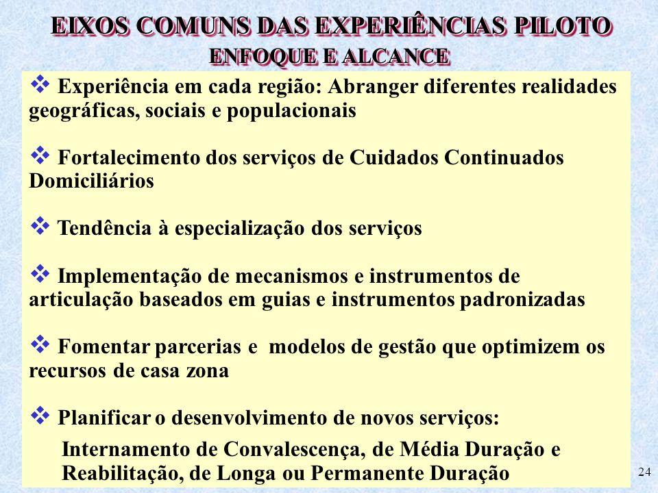 24 EIXOS COMUNS DAS EXPERIÊNCIAS PILOTO Experiência em cada região: Abranger diferentes realidades geográficas, sociais e populacionais Fortalecimento