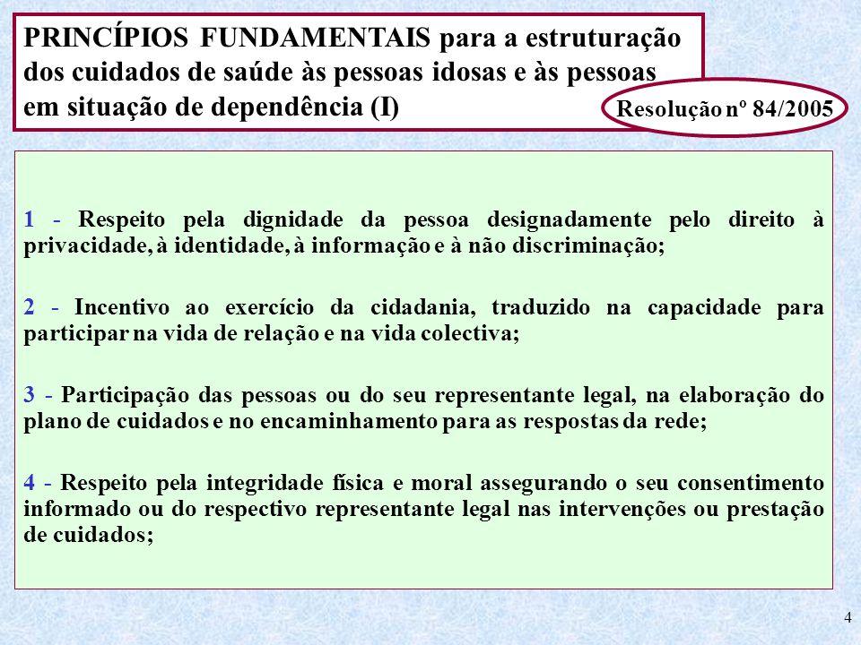 4 PRINCÍPIOS FUNDAMENTAIS para a estruturação dos cuidados de saúde às pessoas idosas e às pessoas em situação de dependência (I) Resolução nº 84/2005
