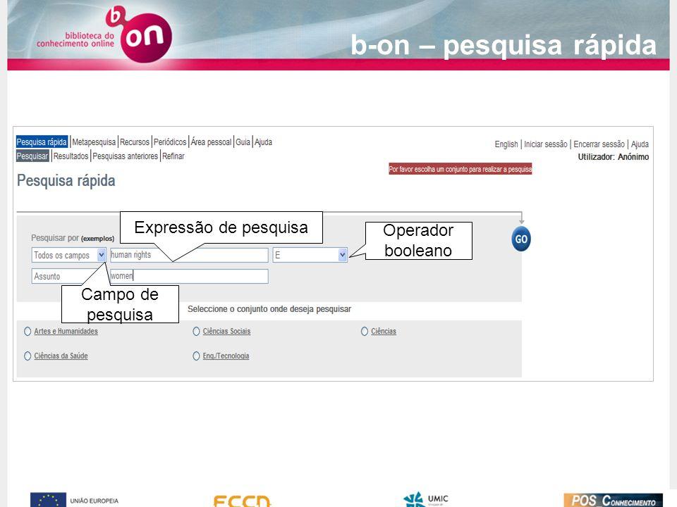 Expressão de pesquisa Campo de pesquisa Operador booleano b-on – pesquisa rápida