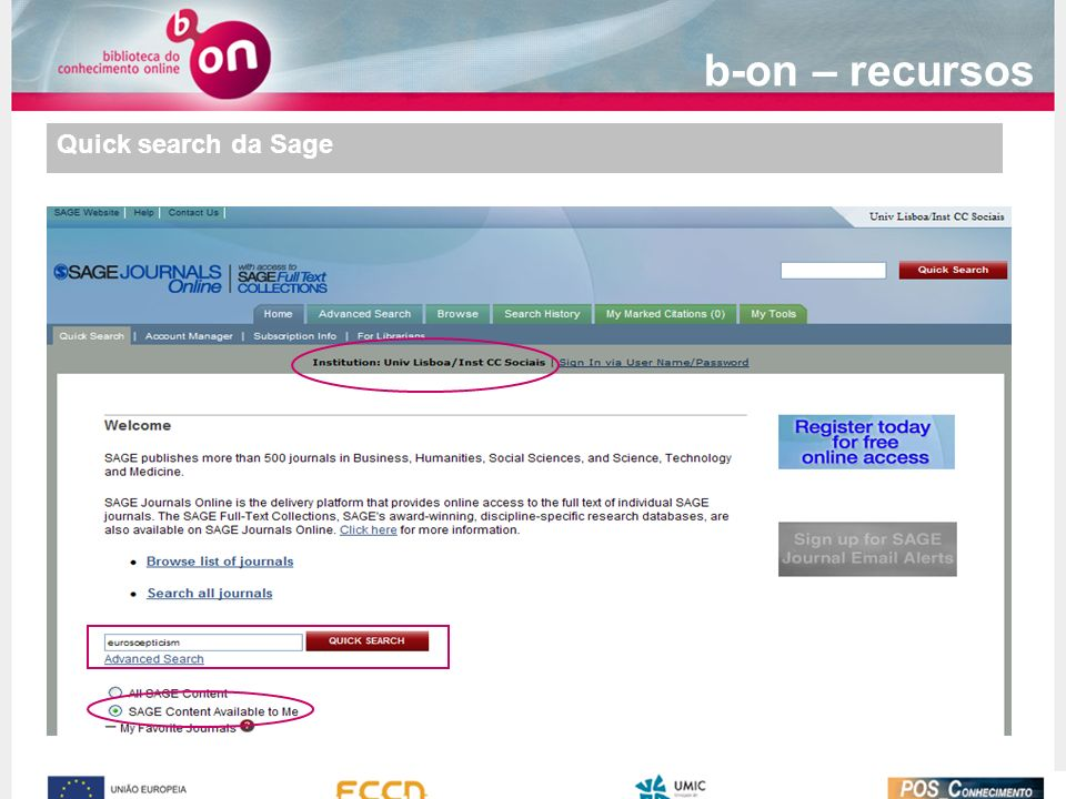 Quick search da Sage b-on – recursos