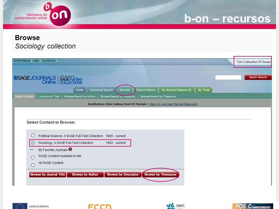 Browse Sociology collection b-on – recursos
