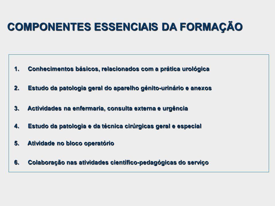1. Conhecimentos básicos, relacionados com a prática urológica 2. Estudo da patologia geral do aparelho génito-urinário e anexos 3. Actividades na enf
