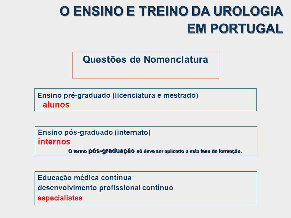 Ensino pré-graduado (licenciatura e mestrado) alunos Ensino pós-graduado (internato) internos O termo pós-graduação só deve ser aplicado a esta fase d