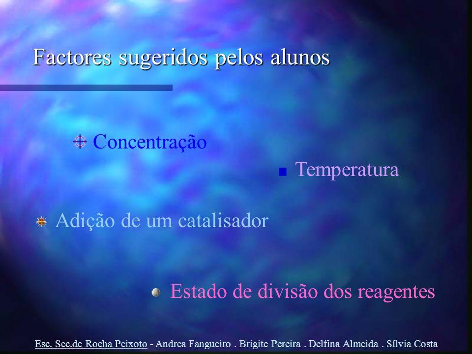 Factores sugeridos pelos alunos Concentração Temperatura Adição de um catalisador Estado de divisão dos reagentes Esc. Sec.de Rocha Peixoto - Andrea F