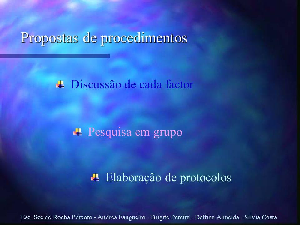 Propostas de procedimentos Pesquisa em grupo Elaboração de protocolos Discussão de cada factor Esc. Sec.de Rocha Peixoto - Andrea Fangueiro. Brigite P