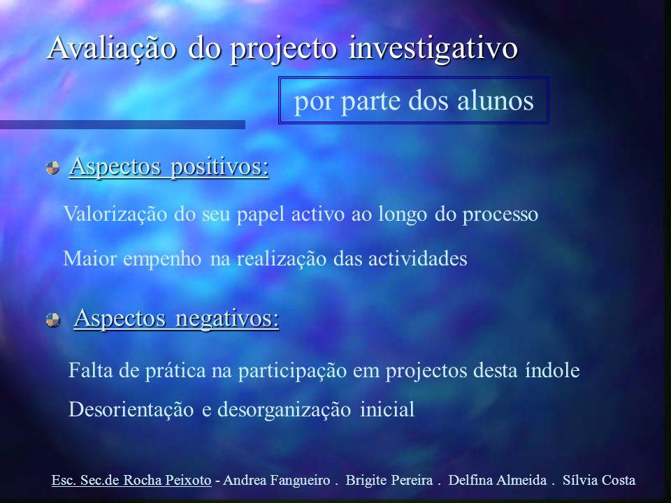 Avaliação do projecto investigativo por parte dos alunos Aspectos positivos: Aspectos negativos: Valorização do seu papel activo ao longo do processo