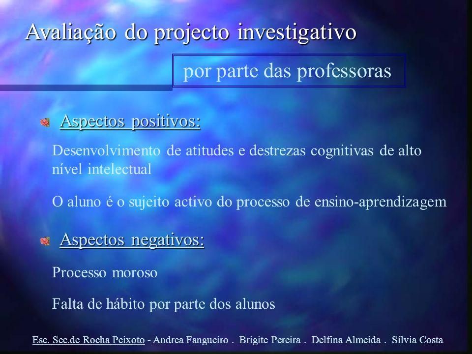 Avaliação do projecto investigativo por parte das professoras Aspectos positivos: Desenvolvimento de atitudes e destrezas cognitivas de alto nível int