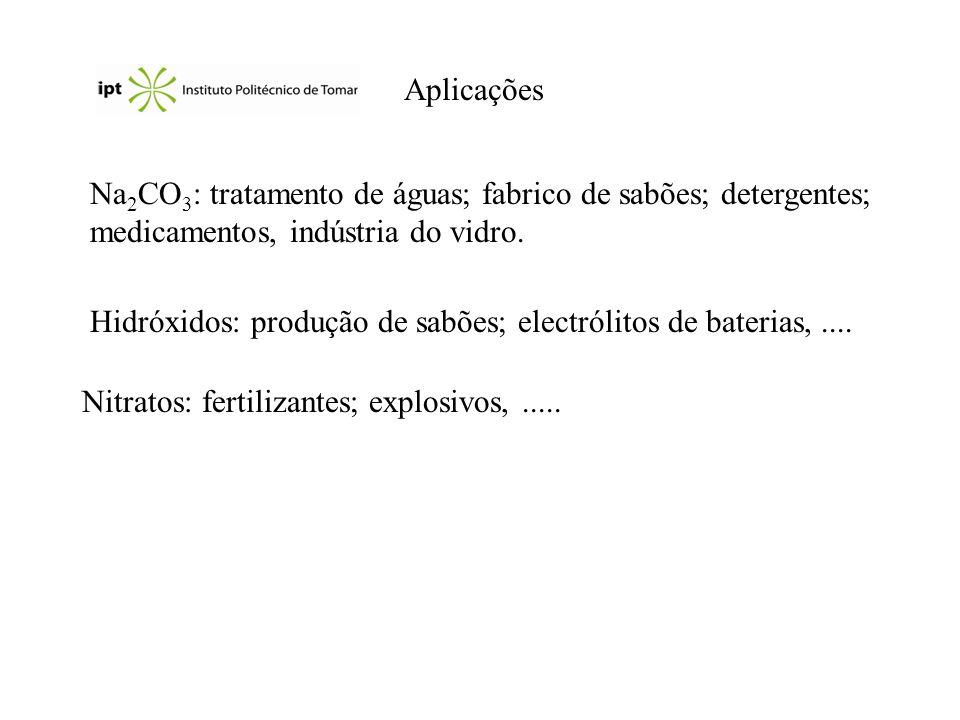 Aplicações Na 2 CO 3 : tratamento de águas; fabrico de sabões; detergentes; medicamentos, indústria do vidro. Hidróxidos: produção de sabões; electról
