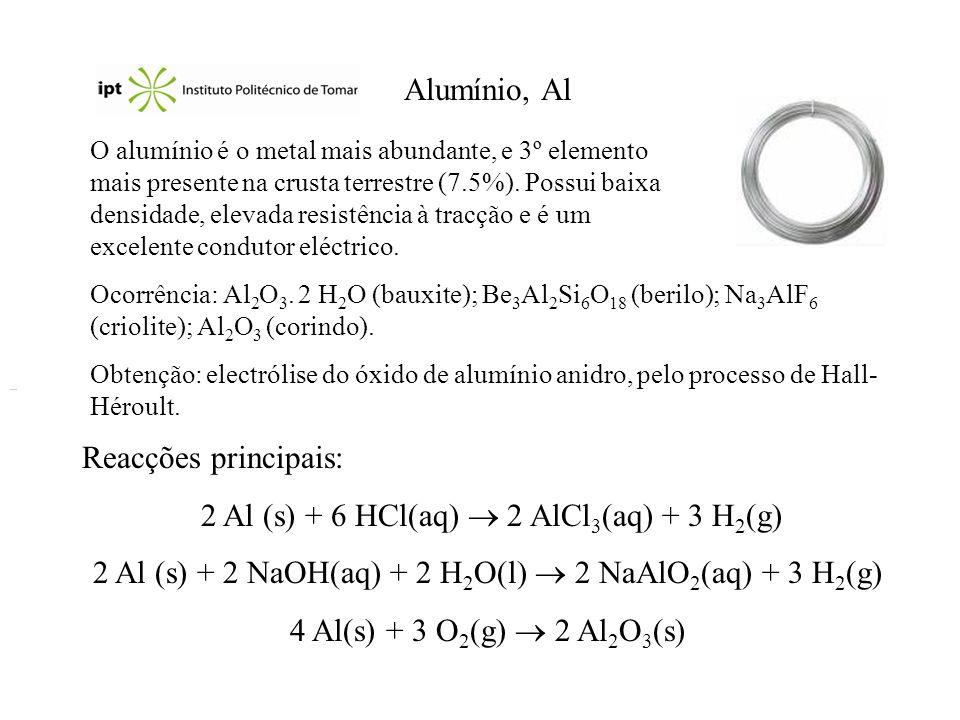 Alumínio, Al O alumínio é o metal mais abundante, e 3º elemento mais presente na crusta terrestre (7.5%). Possui baixa densidade, elevada resistência