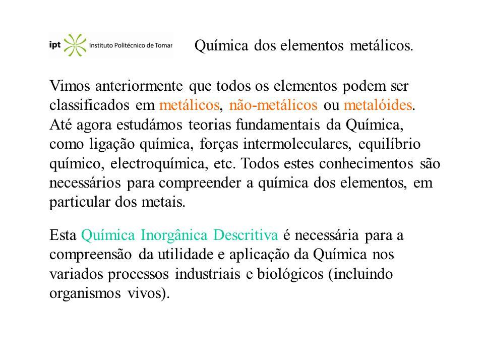 Metais alcalino-terrosos: Magnésio,Mg Ocorrência: Mg(OH) 2 (brucite); CaCO 3.MgCO 3 (dolomite); MgSO 4.7 H 2 O (epsomite).
