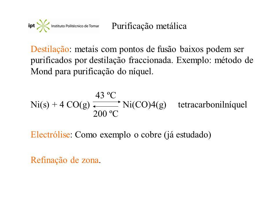 Purificação metálica Destilação: metais com pontos de fusão baixos podem ser purificados por destilação fraccionada. Exemplo: método de Mond para puri