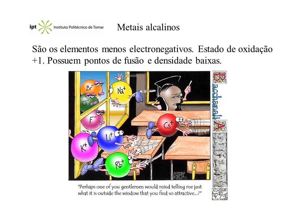 Metais alcalinos São os elementos menos electronegativos. Estado de oxidação +1. Possuem pontos de fusão e densidade baixas.