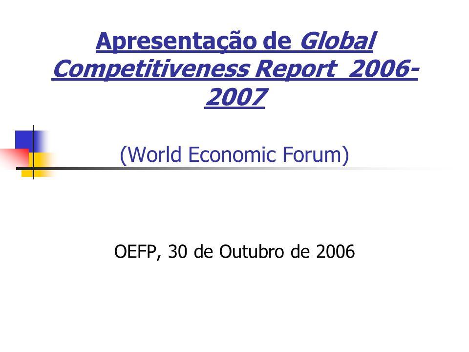 Apresentação de Global Competitiveness Report 2006- 2007 (World Economic Forum) OEFP, 30 de Outubro de 2006