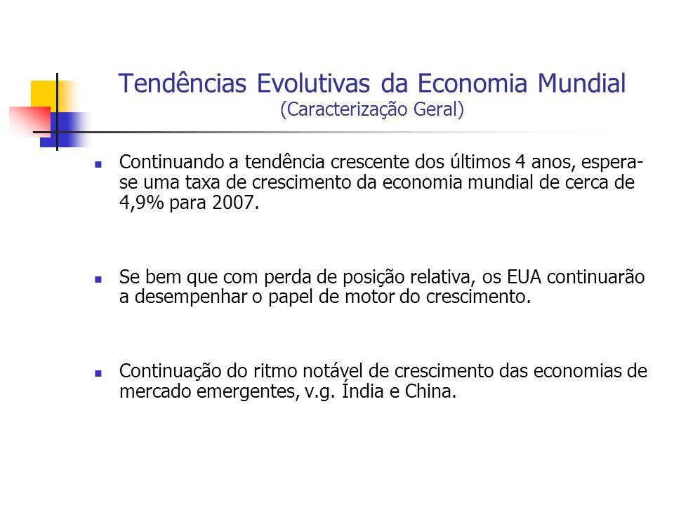 Tendências Evolutivas da Economia Mundial (Caracterização Geral) Continuando a tendência crescente dos últimos 4 anos, espera- se uma taxa de crescime