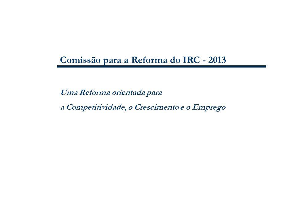 12 I.REDUÇÃO DA TAXA NOMINAL DE IRC E ABOLIÇÃO DAS DERRAMAS MUNICIPAL E ESTADUAL Taxa nominal agregada máxima em Portugal: 4.ª mais elevada da UE 39,6% em 1995; 26,5% em 2007; 31,5% em 2013 esforço fiscal/ GDP em Portugal: em 2012, o mais elevado da UE Comissão para a Reforma do IRC - 2013
