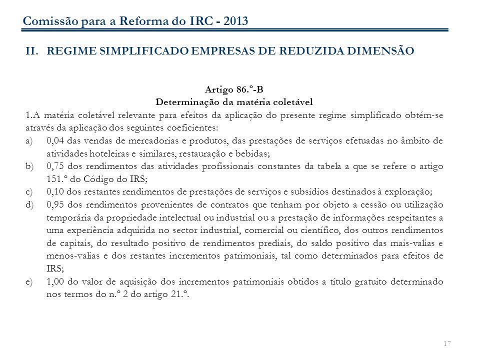 17 II.REGIME SIMPLIFICADO EMPRESAS DE REDUZIDA DIMENSÃO Artigo 86.º-B Determinação da matéria coletável 1.A matéria coletável relevante para efeitos d
