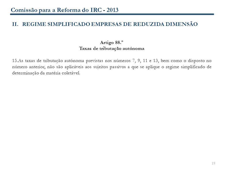 19 II.REGIME SIMPLIFICADO EMPRESAS DE REDUZIDA DIMENSÃO Artigo 88.º Taxas de tributação autónoma 15.As taxas de tributação autónoma previstas nos núme