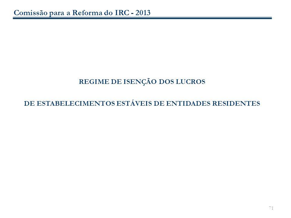 71 REGIME DE ISENÇÃO DOS LUCROS DE ESTABELECIMENTOS ESTÁVEIS DE ENTIDADES RESIDENTES Comissão para a Reforma do IRC - 2013