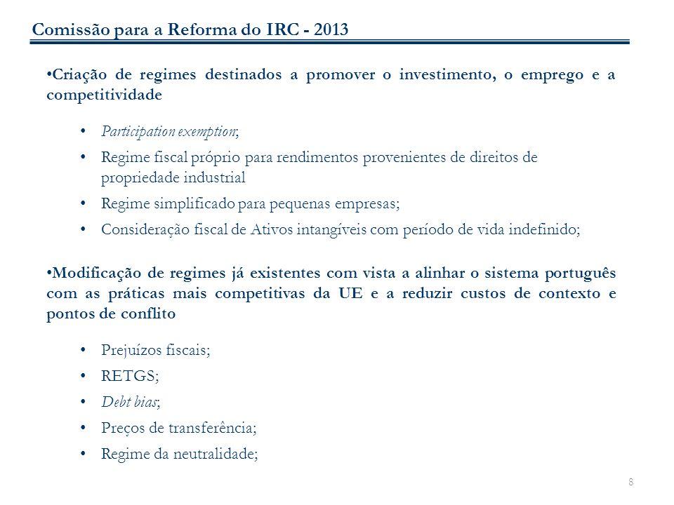 8 Criação de regimes destinados a promover o investimento, o emprego e a competitividade Participation exemption; Regime fiscal próprio para rendiment
