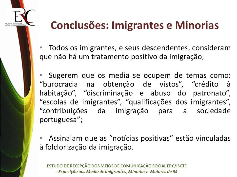 Conclusões: Imigrantes e Minorias Todos os imigrantes, e seus descendentes, consideram que não há um tratamento positivo da imigração; Sugerem que os
