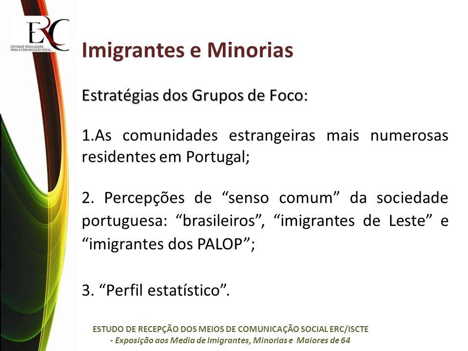 Imigrantes e Minorias: Grupos de Foco 10 Grupos, 61 cidadãos: 4 com imigrantes dos PALOP e seus descendentes (29 cidadãos, 24H e 5M); 3 com imigrantes dos países do Leste da Europa (15 cidadãos, 7H e 8M); 2 com imigrantes brasileiros (10 cidadãos; 5H e 5M); 1 com imigrantes e descendentes de imigrantes de diversas nacionalidades (7 cidadãos, 3H e 4M).