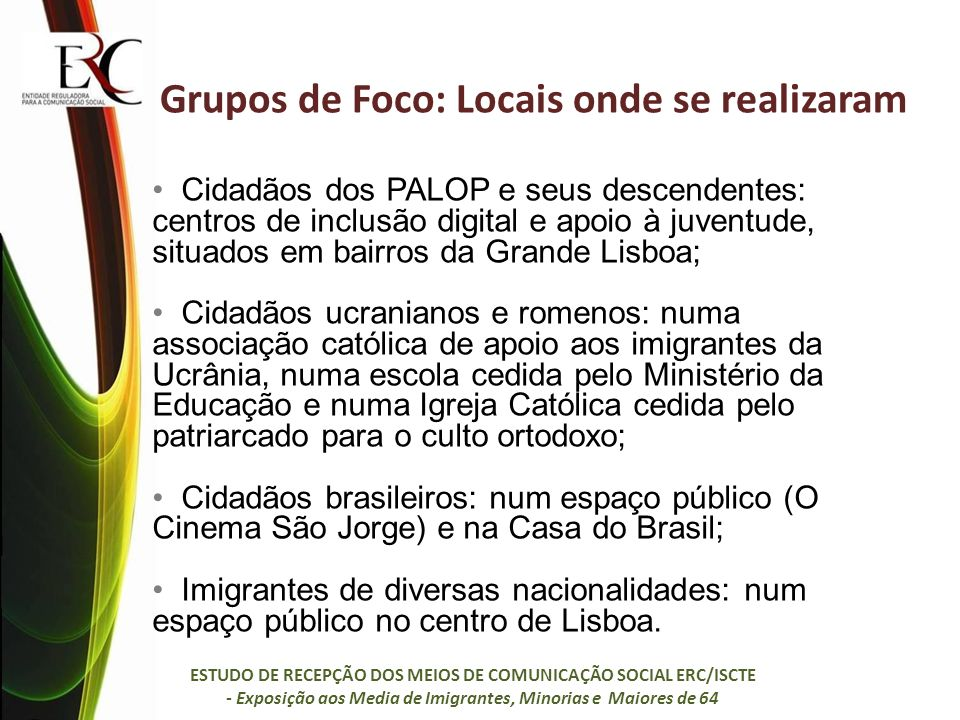 Grupos de Foco: Locais onde se realizaram Cidadãos dos PALOP e seus descendentes: centros de inclusão digital e apoio à juventude, situados em bairros