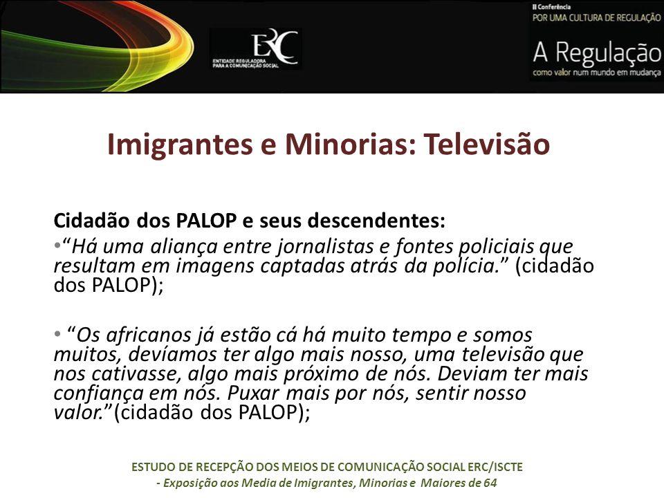 Imigrantes e Minorias: Televisão Cidadão dos PALOP e seus descendentes: Há uma aliança entre jornalistas e fontes policiais que resultam em imagens ca