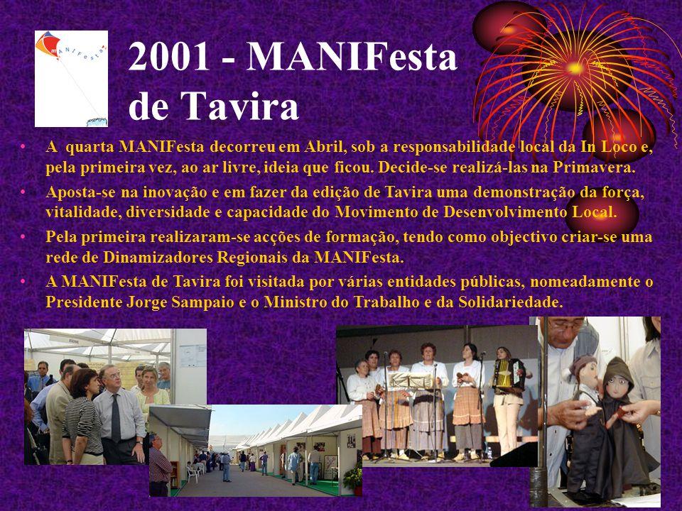2001 - MANIFesta de Tavira A quarta MANIFesta decorreu em Abril, sob a responsabilidade local da In Loco e, pela primeira vez, ao ar livre, ideia que