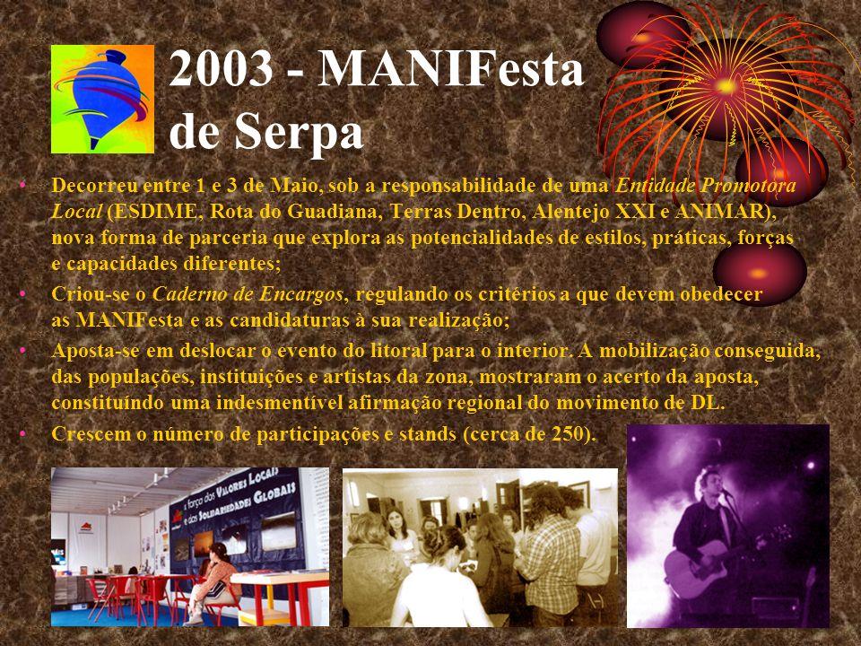 2003 - MANIFesta de Serpa Decorreu entre 1 e 3 de Maio, sob a responsabilidade de uma Entidade Promotora Local (ESDIME, Rota do Guadiana, Terras Dentr