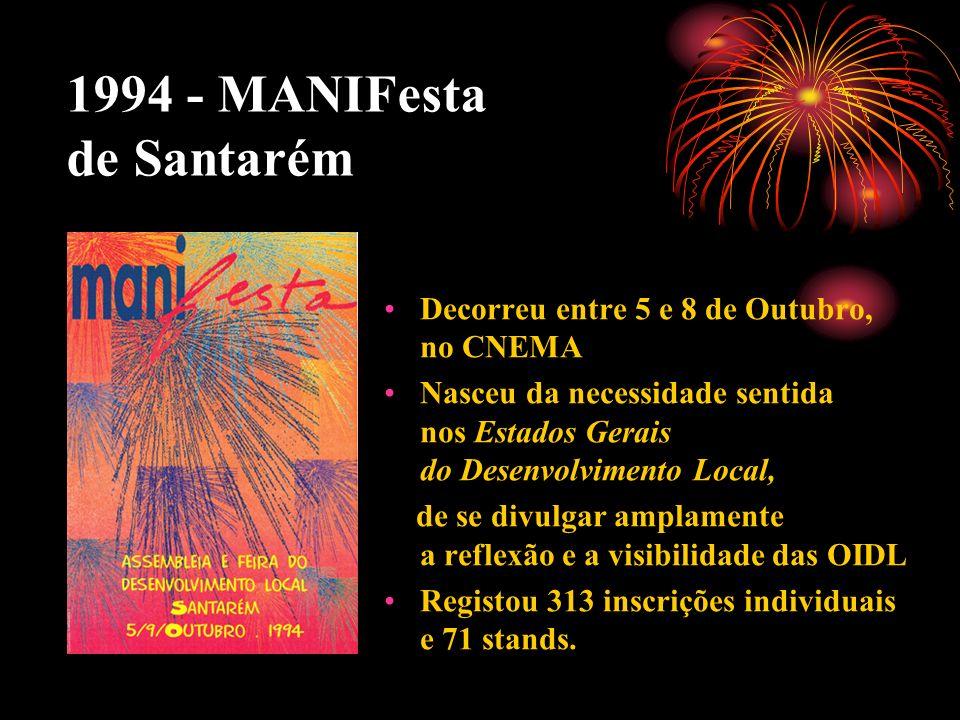1994 - MANIFesta de Santarém Decorreu entre 5 e 8 de Outubro, no CNEMA Nasceu da necessidade sentida nos Estados Gerais do Desenvolvimento Local, de s