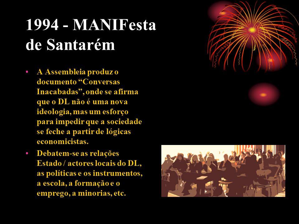 1994 - MANIFesta de Santarém A Assembleia produz o documento Conversas Inacabadas, onde se afirma que o DL não é uma nova ideologia, mas um esforço pa
