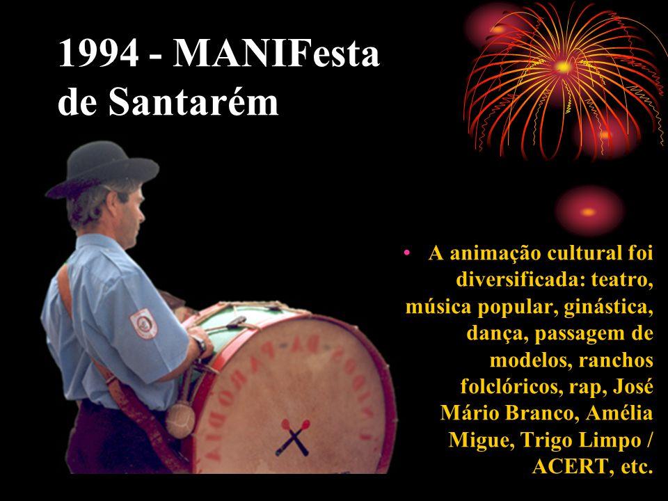 1994 - MANIFesta de Santarém A animação cultural foi diversificada: teatro, música popular, ginástica, dança, passagem de modelos, ranchos folclóricos