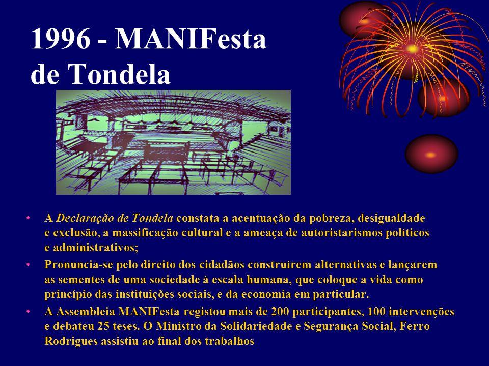 1996 - MANIFesta de Tondela A Declaração de Tondela constata a acentuação da pobreza, desigualdade e exclusão, a massificação cultural e a ameaça de a