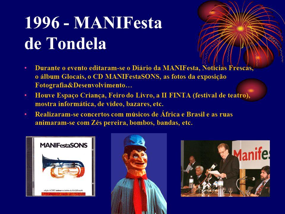 1996 - MANIFesta de Tondela Durante o evento editaram-se o Diário da MANIFesta, Notícias Frescas, o álbum Glocais, o CD MANIFestaSONS, as fotos da exp