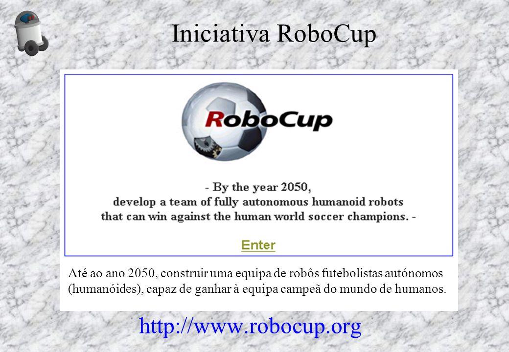 Iniciativa RoboCup http://www.robocup.org Até ao ano 2050, construir uma equipa de robôs futebolistas autónomos (humanóides), capaz de ganhar à equipa