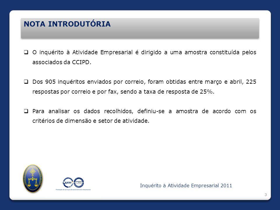 Introdução NOTA INTRODUTÓRIA 3 O inquérito à Atividade Empresarial é dirigido a uma amostra constituída pelos associados da CCIPD. Dos 905 inquéritos