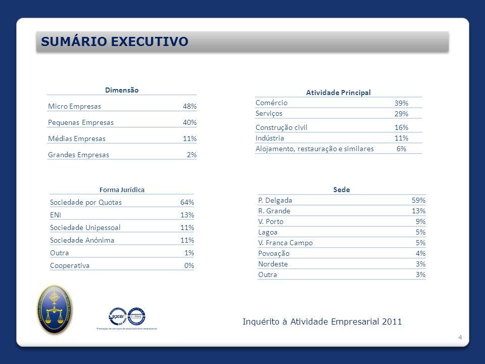 4 SUMÁRIO EXECUTIVO Inquérito à Atividade Empresarial 2011 Dimensão Micro Empresas48% Pequenas Empresas40% Médias Empresas11% Grandes Empresas2% Ativi