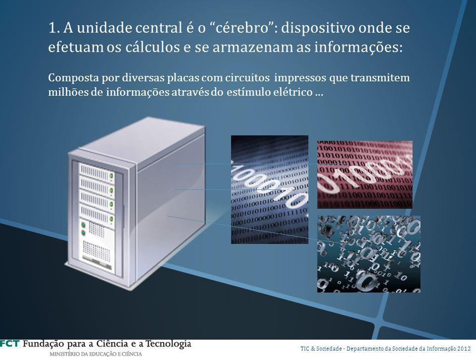 1. A unidade central é o cérebro: dispositivo onde se efetuam os cálculos e se armazenam as informações: Composta por diversas placas com circuitos im