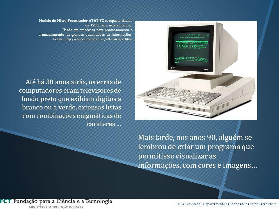 Até há 30 anos atrás, os ecrãs de computadores eram televisores de fundo preto que exibiam dígitos a branco ou a verde, extensas listas com combinaçõe