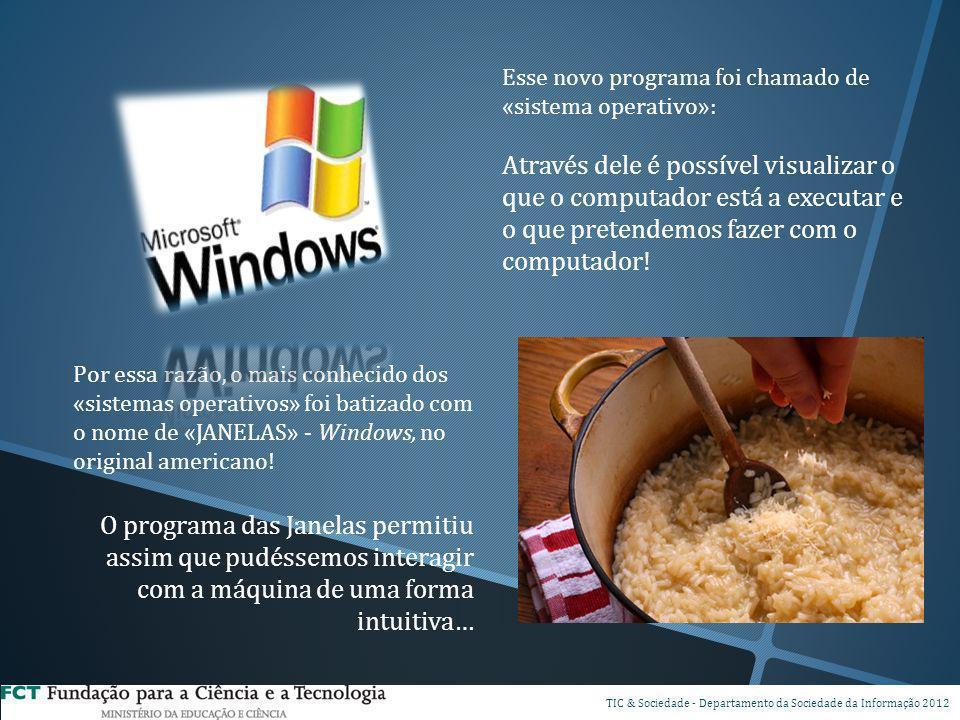 Esse novo programa foi chamado de «sistema operativo»: Através dele é possível visualizar o que o computador está a executar e o que pretendemos fazer