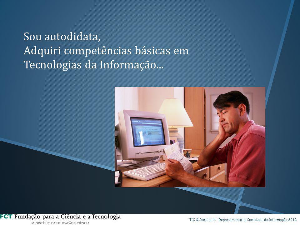 Sou autodidata, Adquiri competências básicas em Tecnologias da Informação... DSPI TIC & Sociedade - Departamento da Sociedade da Informação 2012