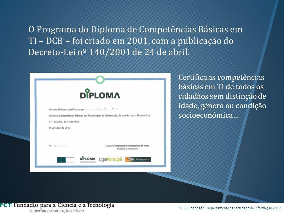 DSPI TIC & Sociedade - Departamento da Sociedade da Informação 2012 O Programa do Diploma de Competências Básicas em TI – DCB – foi criado em 2001, co