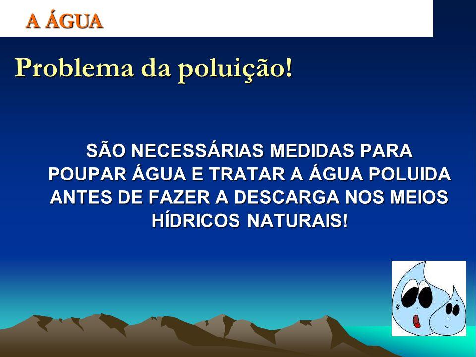 A ÁGUA Problema da poluição! SÃO NECESSÁRIAS MEDIDAS PARA POUPAR ÁGUA E TRATAR A ÁGUA POLUIDA ANTES DE FAZER A DESCARGA NOS MEIOS HÍDRICOS NATURAIS!