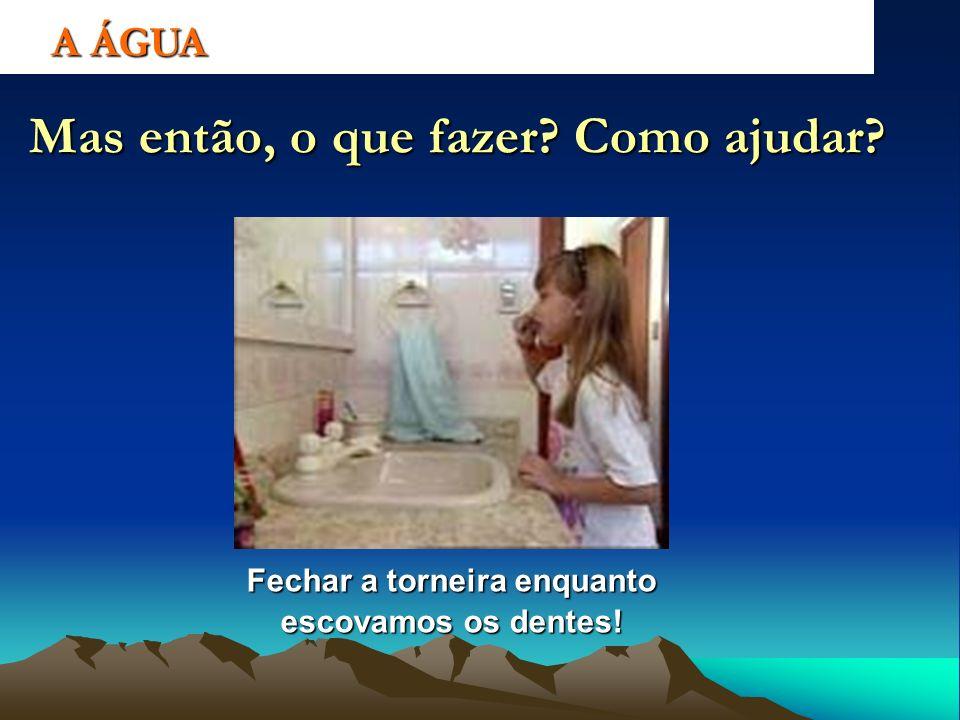 A ÁGUA Mas então, o que fazer? Como ajudar? Fechar a torneira enquanto escovamos os dentes!