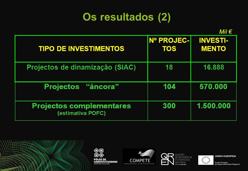 Os resultados (2) TIPO DE INVESTIMENTOS Nº PROJEC- TOS INVESTI- MENTO Projectos de dinamização (SIAC)1816.888 Mil