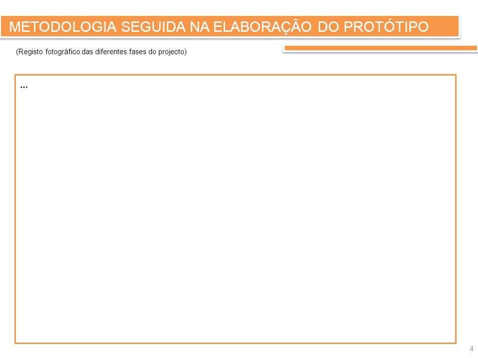 METODOLOGIA SEGUIDA NA ELABORAÇÃO DO PROTÓTIPO … (Registo fotográfico das diferentes fases do projecto) 4