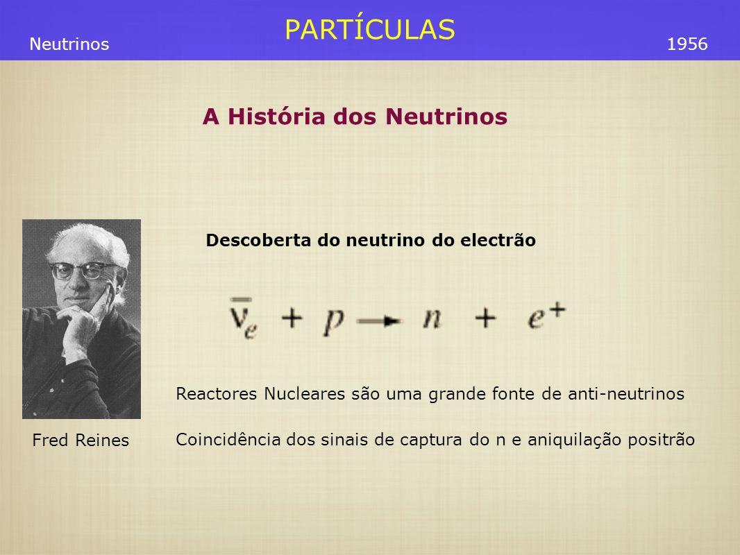 PARTÍCULAS Fred Reines Neutrinos1956 Descoberta do neutrino do electrão Reactores Nucleares são uma grande fonte de anti-neutrinos Coincidência dos si